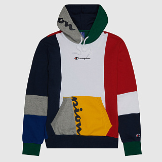 ТОЛСТОВКА CHAMPION BOYS COLOUR BLOCK PATCHWORK HOODIE MULTICOLOR