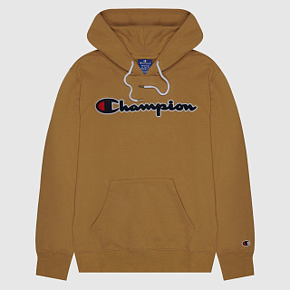 ТОЛСТОВКА CHAMPION SATIN SCRIPT LOGO COTTON TERRY HOODIE LIGHT BROWN