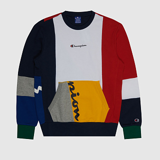 СВИТШОТ CHAMPION COLOUR BLOCK PATCHWORK POCKET SWEATSHIRT MULTICOLOR