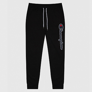 БРЮКИ CHAMPION SATIN SCRIPT LOGO COTTON TERRY JOGGERS BLACK